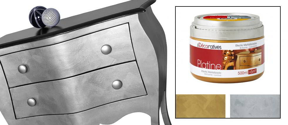 Efecto plateado o dorado en tus muebles la casa de pinturas for Como pintar un mueble lacado