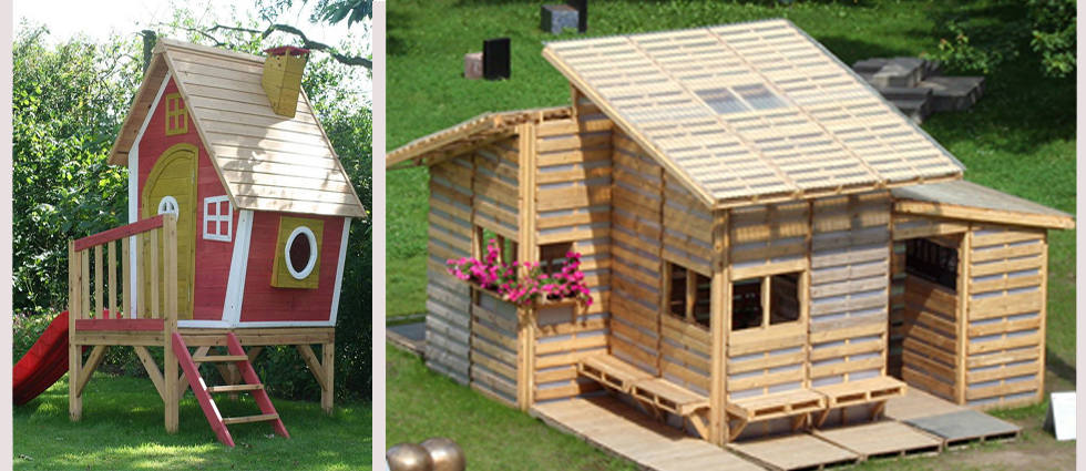 Construya una casita de madera infantil la casa de pinturas - Casa de palets para ninos ...