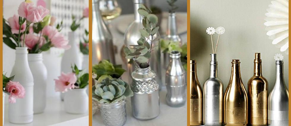 botellas de cristal en plata y oro