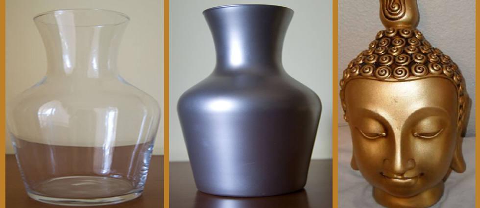 objetos cristal pintados en plata y oro