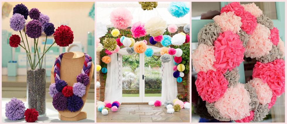 decoración con pompones en interiorismo