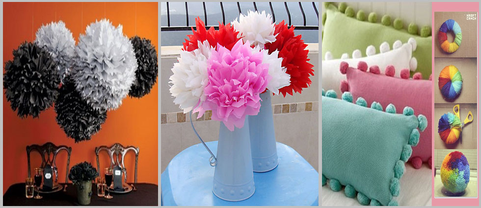pompones para decorar interiores