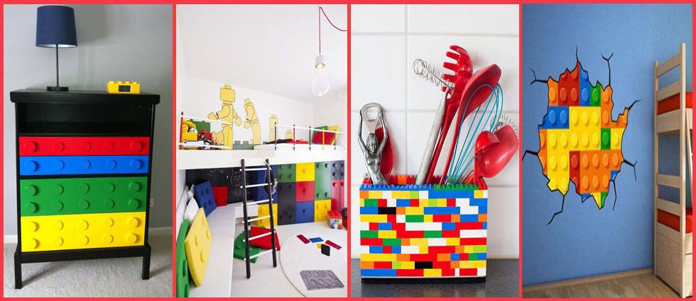 diferentes decoraciones piezas lego
