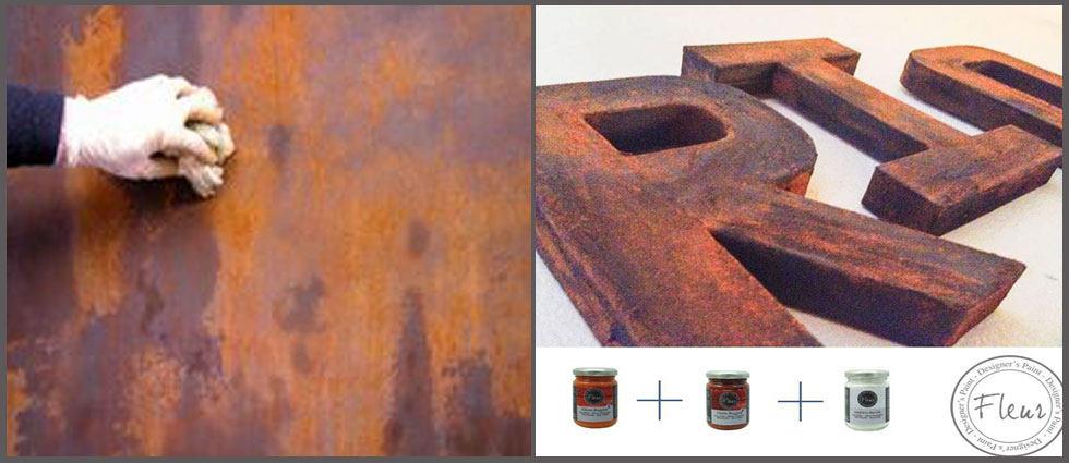 como utilizar la pintura efecto óxido