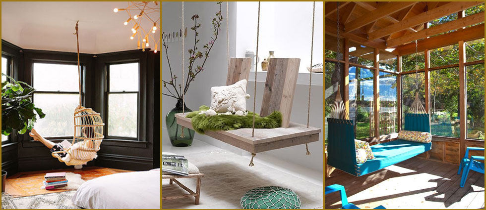 Sillas colgantes en decoraci n la casa de pinturas tu - Sillas colgantes del techo ...