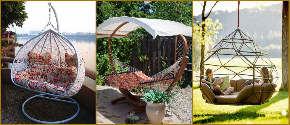 sillas colgantes para decoraciones de exterior