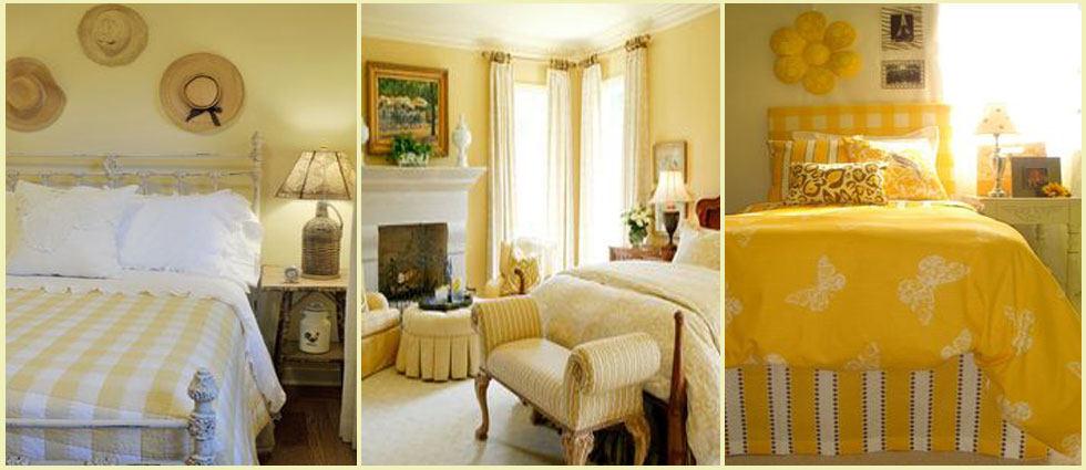 dormitorios elegantes en amarillo