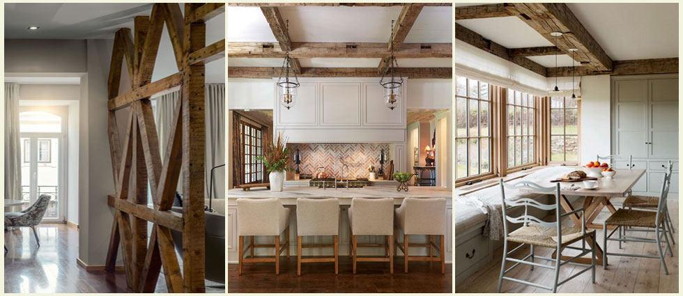 vigas de madera en hogares modernos