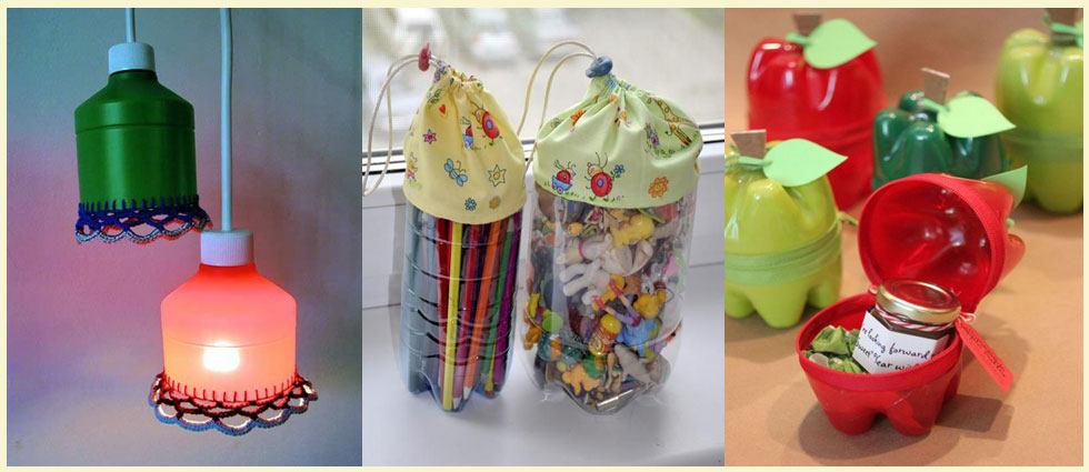 aprenda a decorar con botellas de plástico