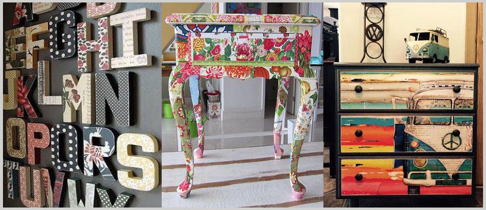 Decoupage en madera de moda en decoraci n for Decoupage con servilletas en muebles