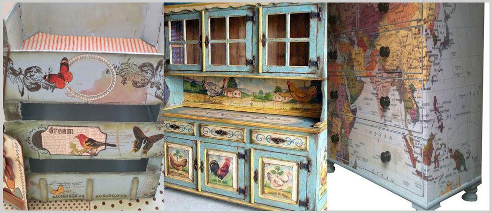 Restauraci n de muebles for Decoupage con servilletas en muebles