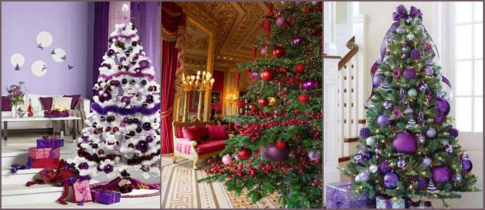 decoración navideña en morado con plata