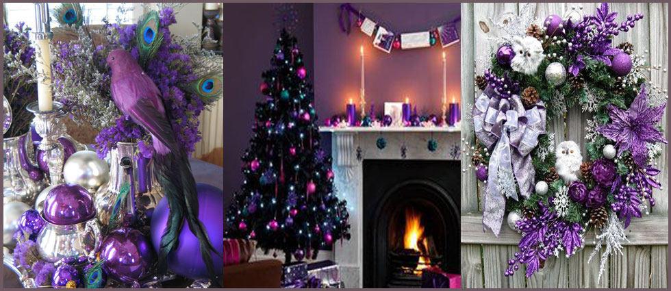 decoración navideña en morado elegante
