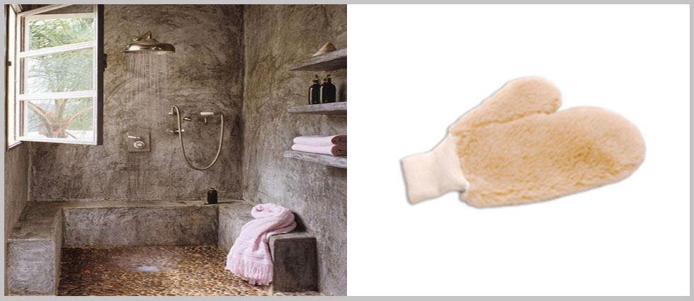 veladura en paredes con guantes de lana