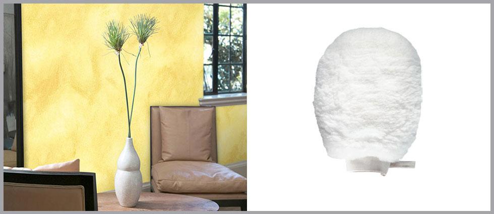 veladura en paredes con guantes para su hogar