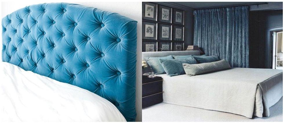 terciopelo en decoracion de cabeceros de cama