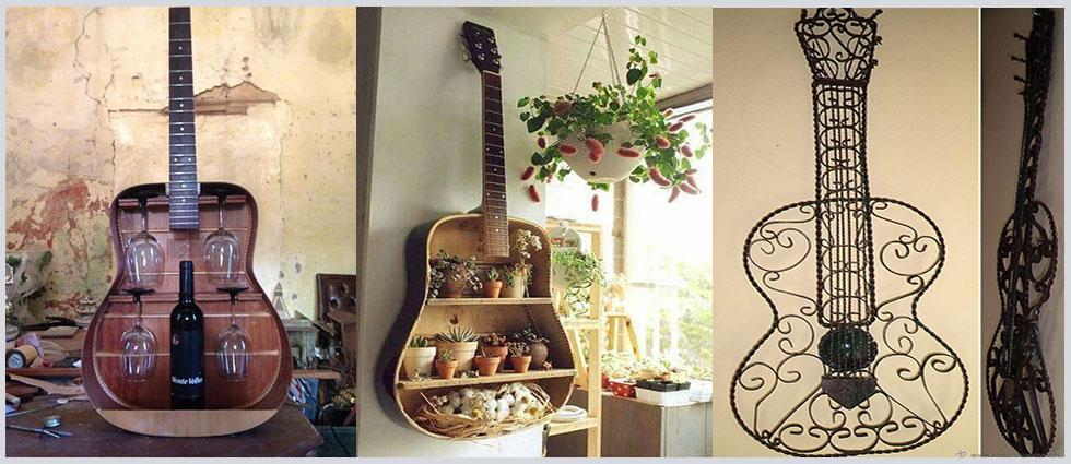 guitarras decorativas en hogares