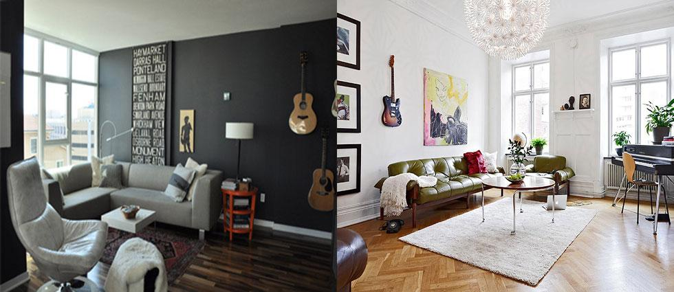 decoración con guitarras électricas