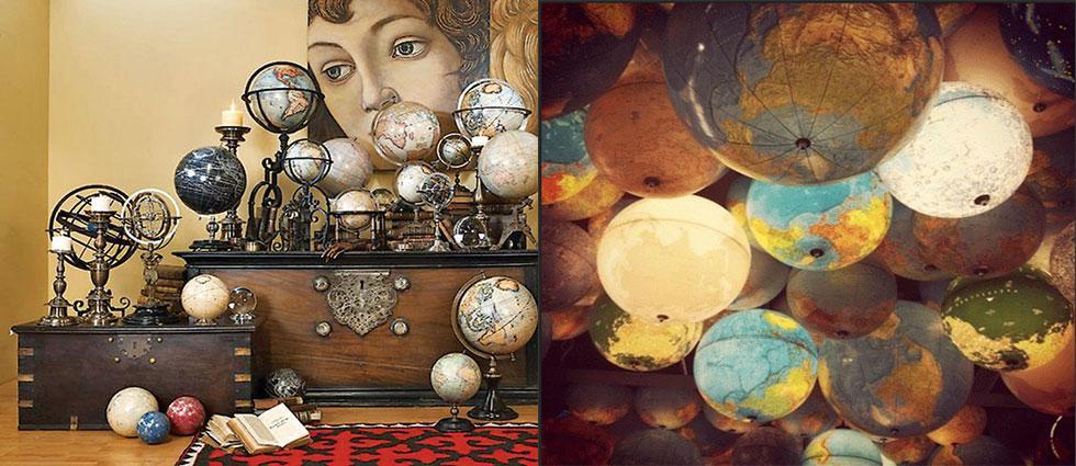 globos terráqueos estilo vintage