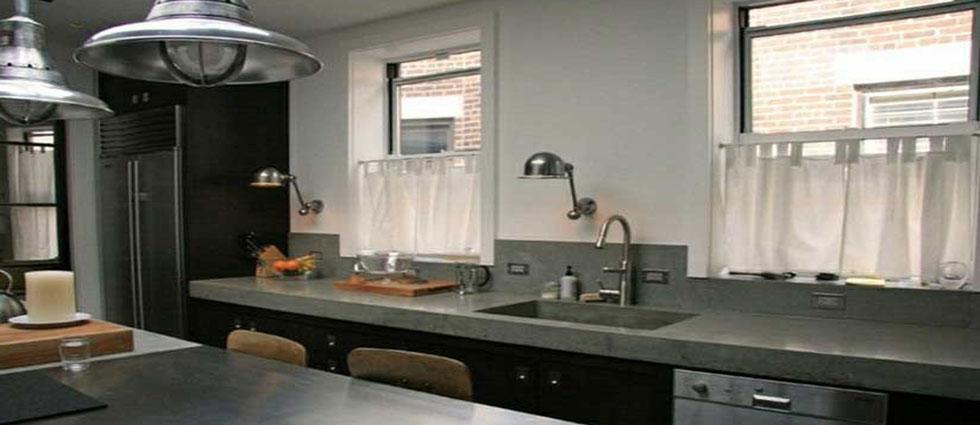 cocinas de cemento con loft beton