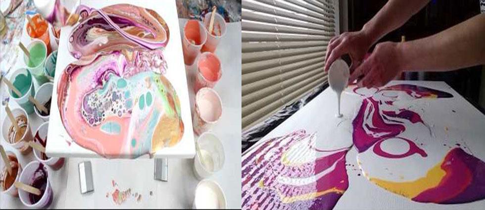 pouring pintura mediante vertido