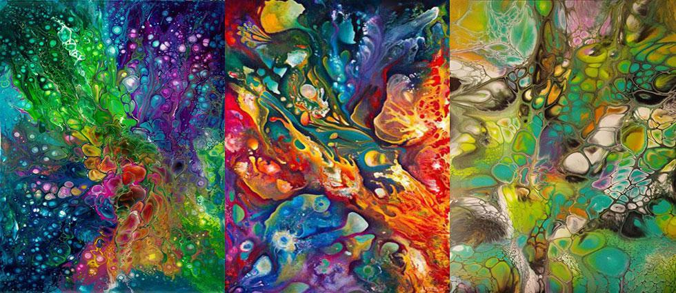 pouring de diferentes colores