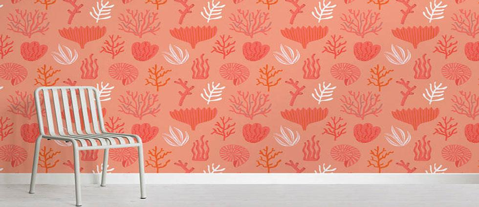 living coral color pantone del 2019 en paredes
