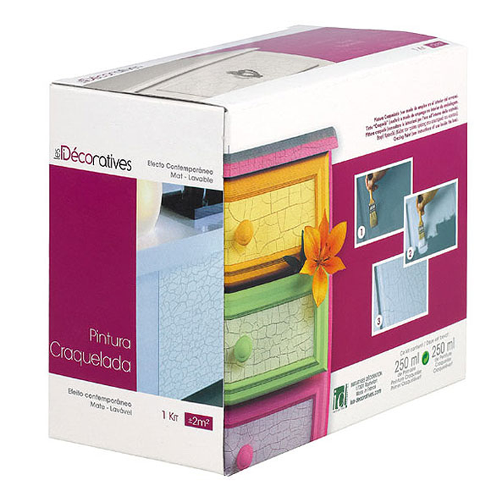 PINTURA CRAQUELADA EFECTO CUERO LES DECORATIVES KIT 2 X 250 ML.